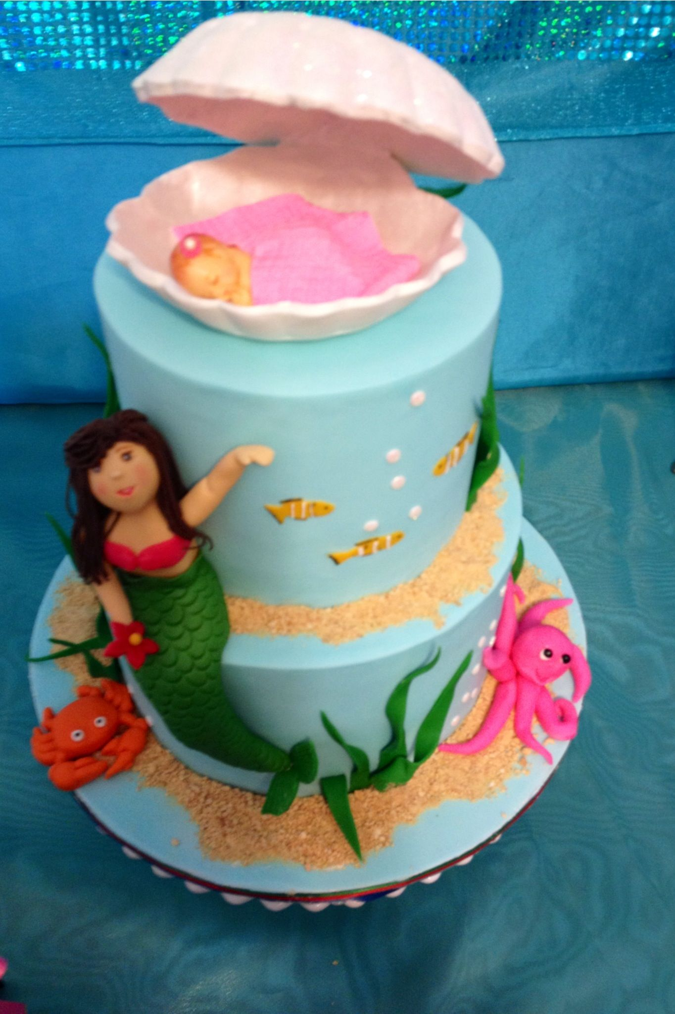 Mermaid Theme Baby Shower Cake