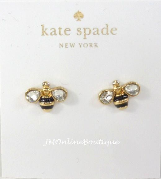 Kate Spade O0ru1781 Down The Rabbit Hole Ble Bee Gold Crystals Stud Earrings Katespade