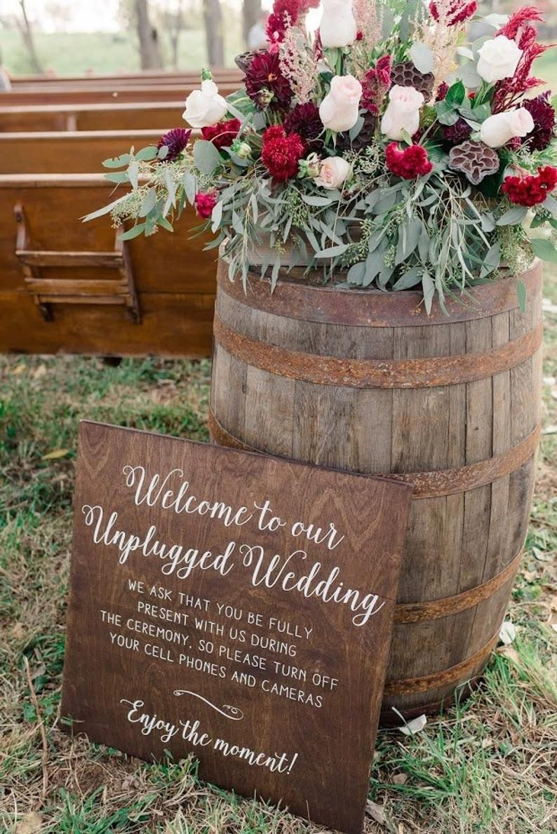 Unplugged Wedding Sign | Unplugged Ceremony Sign | 24x36 Vertical Wooden Wedding Sign | Rustic Wedding Decor | Large Sign - WS-158