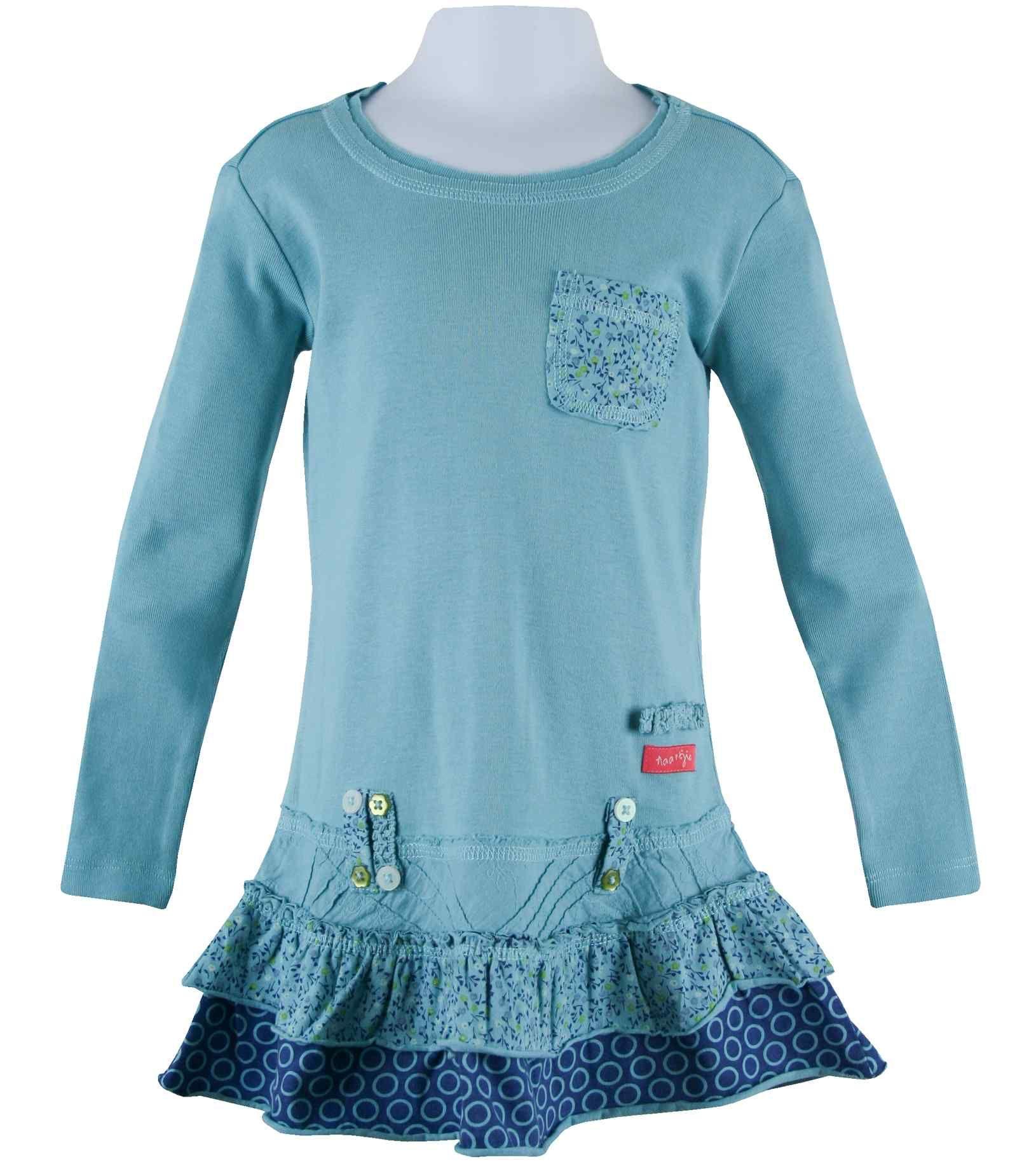 long sleeve mix print & pocket trimmed dress