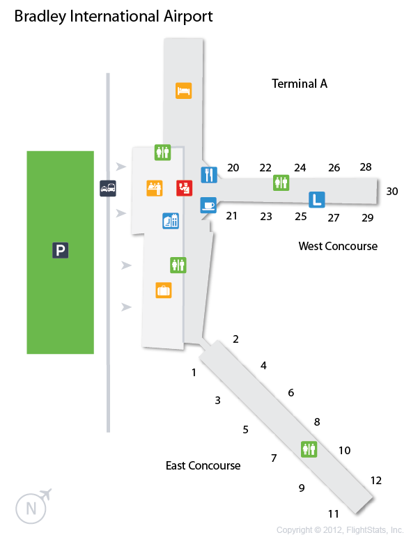 BDL Bradley International Airport Terminal Map airports
