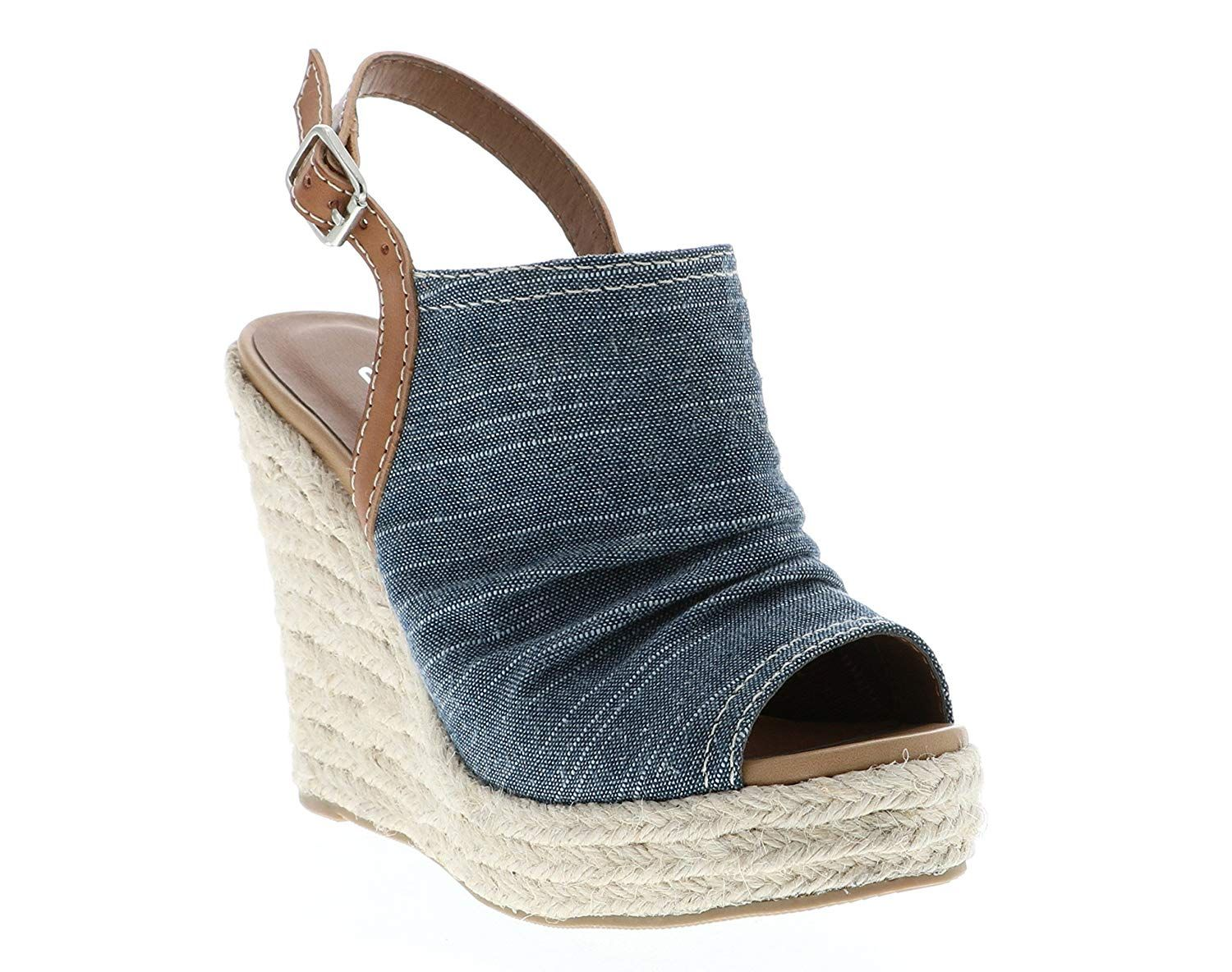 6fc4bbb4c417 Soda Women s Open Toe Ruched Canvas Espadrille Platform Wedge. Soda is a  fashion shoe brand based in California. Soda offers a wide array of styles  ...