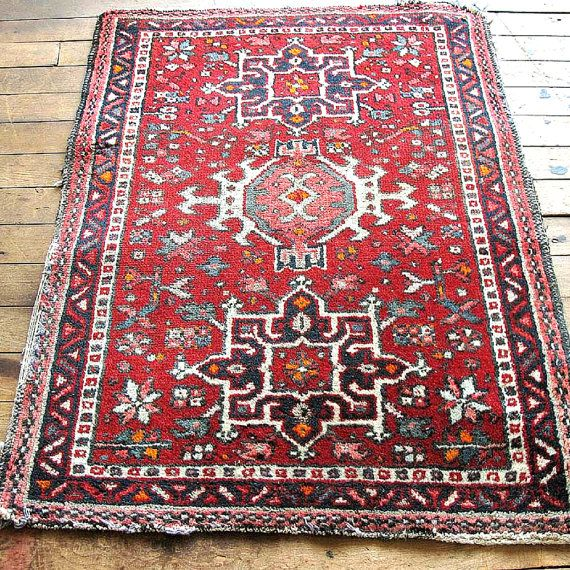 Red Oriental Rug Boho Vintage 2x3 Bohemian