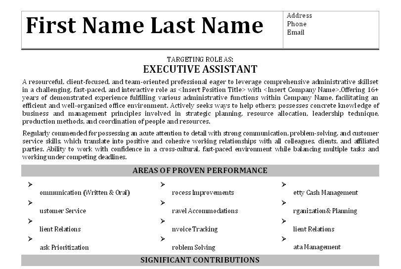 Click Here To Download This Executive Assistant Resume Template