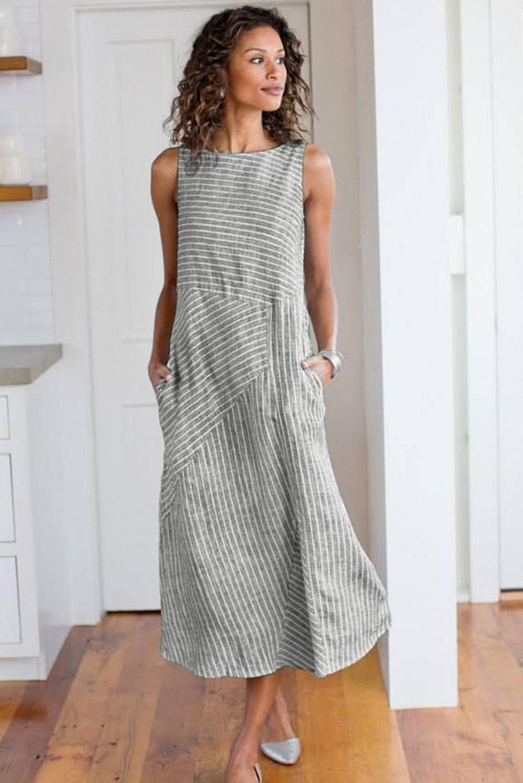 Gray Shift Daily Striped Crew Neck Dress Striped Casual Dresses Daily Dress Midi Dress Plus Size [ 1500 x 1001 Pixel ]