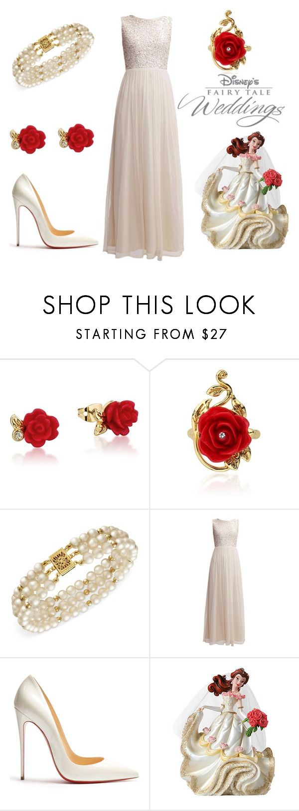"""""""Beauty and the Beast Wedding"""" by sassyladies ❤ liked on Polyvore featuring Disney, Belle de Mer and Christian Louboutin"""
