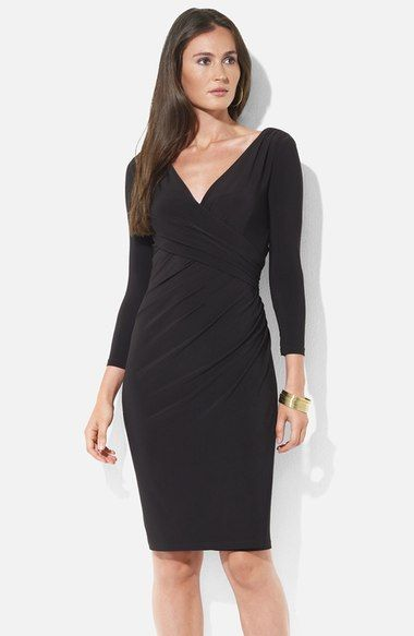 Lauren Ralph Ruched Surplice Jersey Sheath Dress Available At Nordstrom
