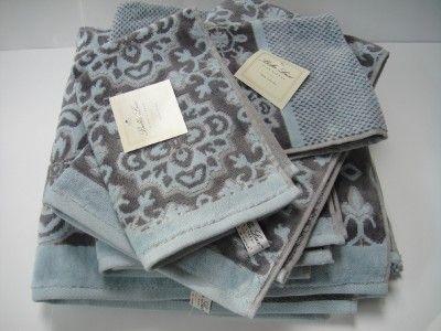 Bella Lux Toile Bath Towel Set Aqua Blue Gray 6 Pc Stuff