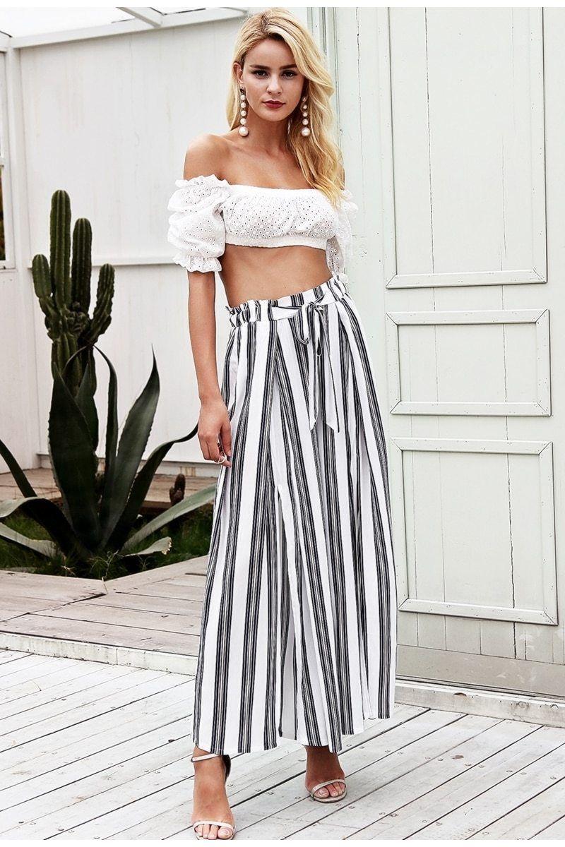 39c9842975 Women's 100% Viscose-High Split Stripe Wide Leg Pants for Cool Summer Beach  and Street