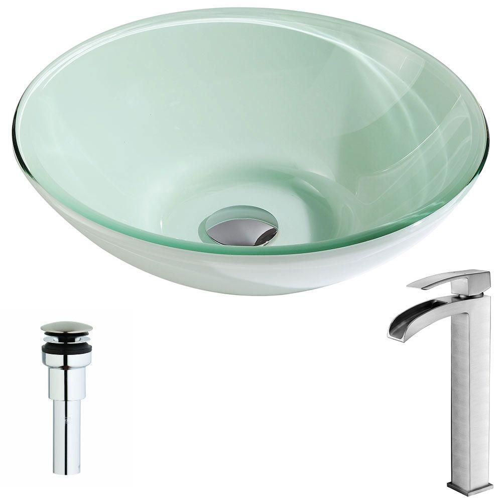 Photo of ANZZI Sonata Series Deco-Glass Vessel Sink in Lustrous Light Green with Key Faucet in Polished Chrome-LSAZ083-097 – The Home Depot