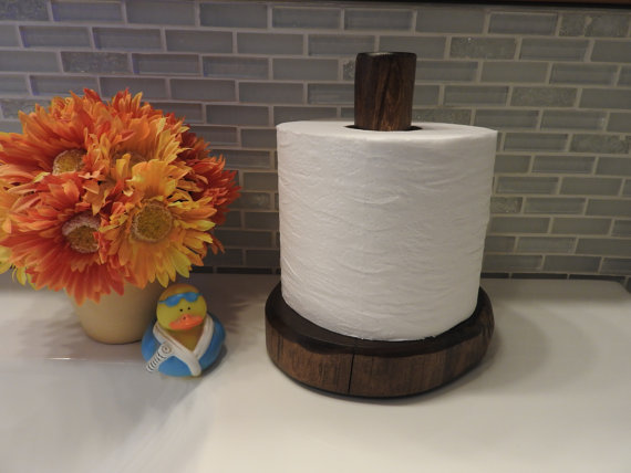Log Toilet Paper Holder Holds 1 Roll Toilet Paper Sits On