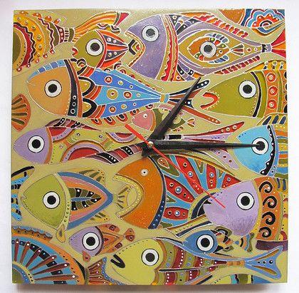 "Часы для дома ручной работы. Ярмарка Мастеров - ручная работа Часы ""Рыбы пустыни"". Handmade."