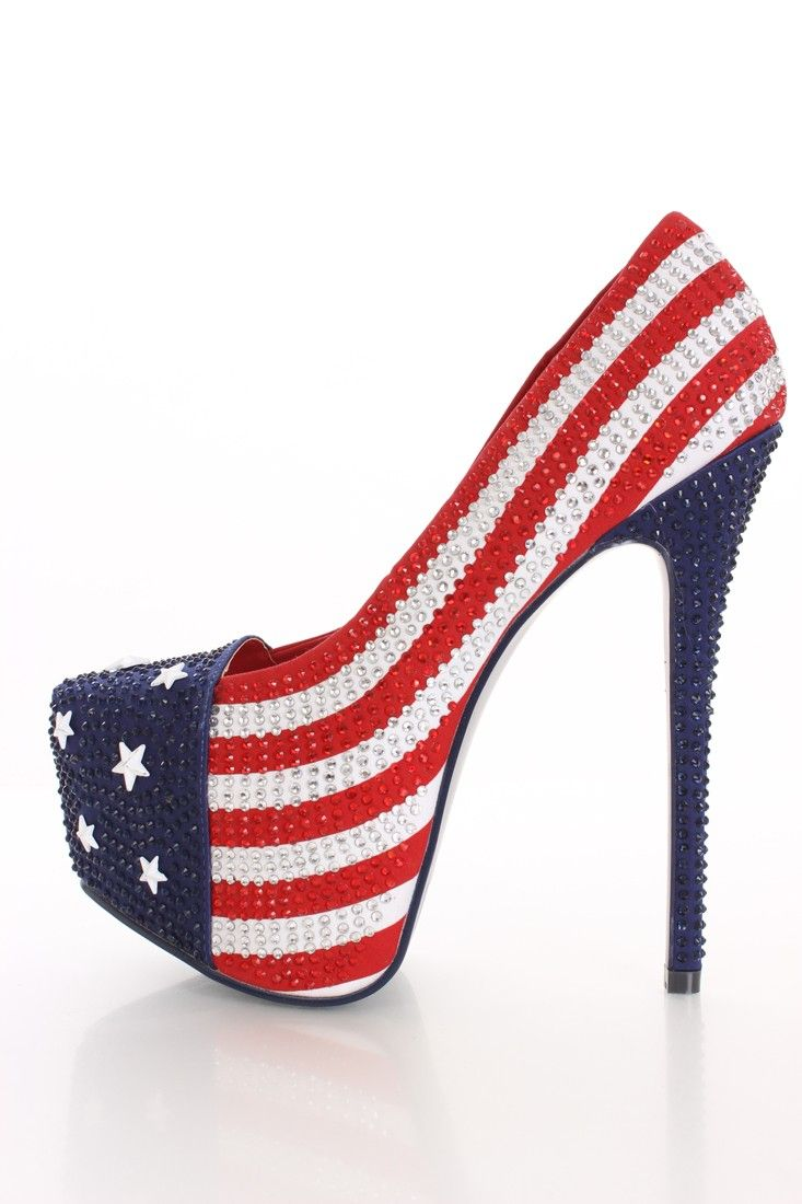 Red, White, & Blue American Flag Rhinestone Closed Almond Toe Pump ...
