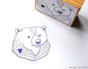 bear stamp by marga marina on dawanda