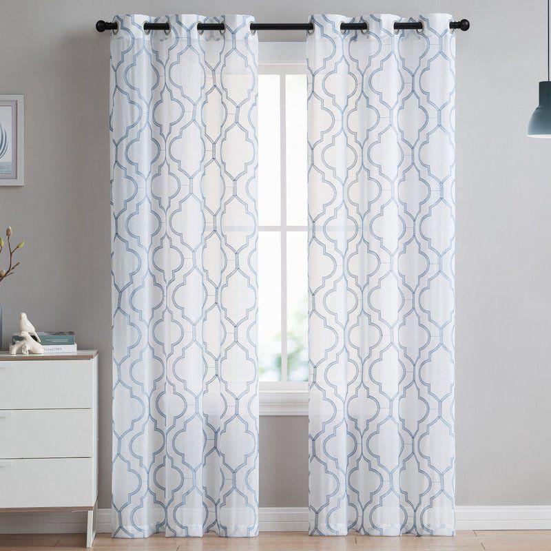 Bailey Embroidered Trellis Geometric Semi Sheer Grommet Curtain