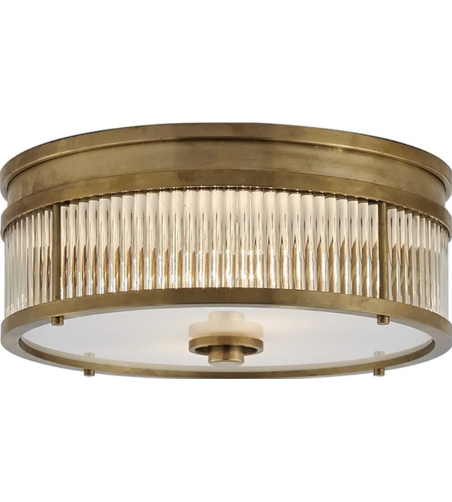 Visual Comfort Rl4801nb Ralph Lauren Allen Round Flush Mount In Natural Brass And Glass Rods With White G Flush Mount Ceiling Lights Ceiling Lights Flush Mount