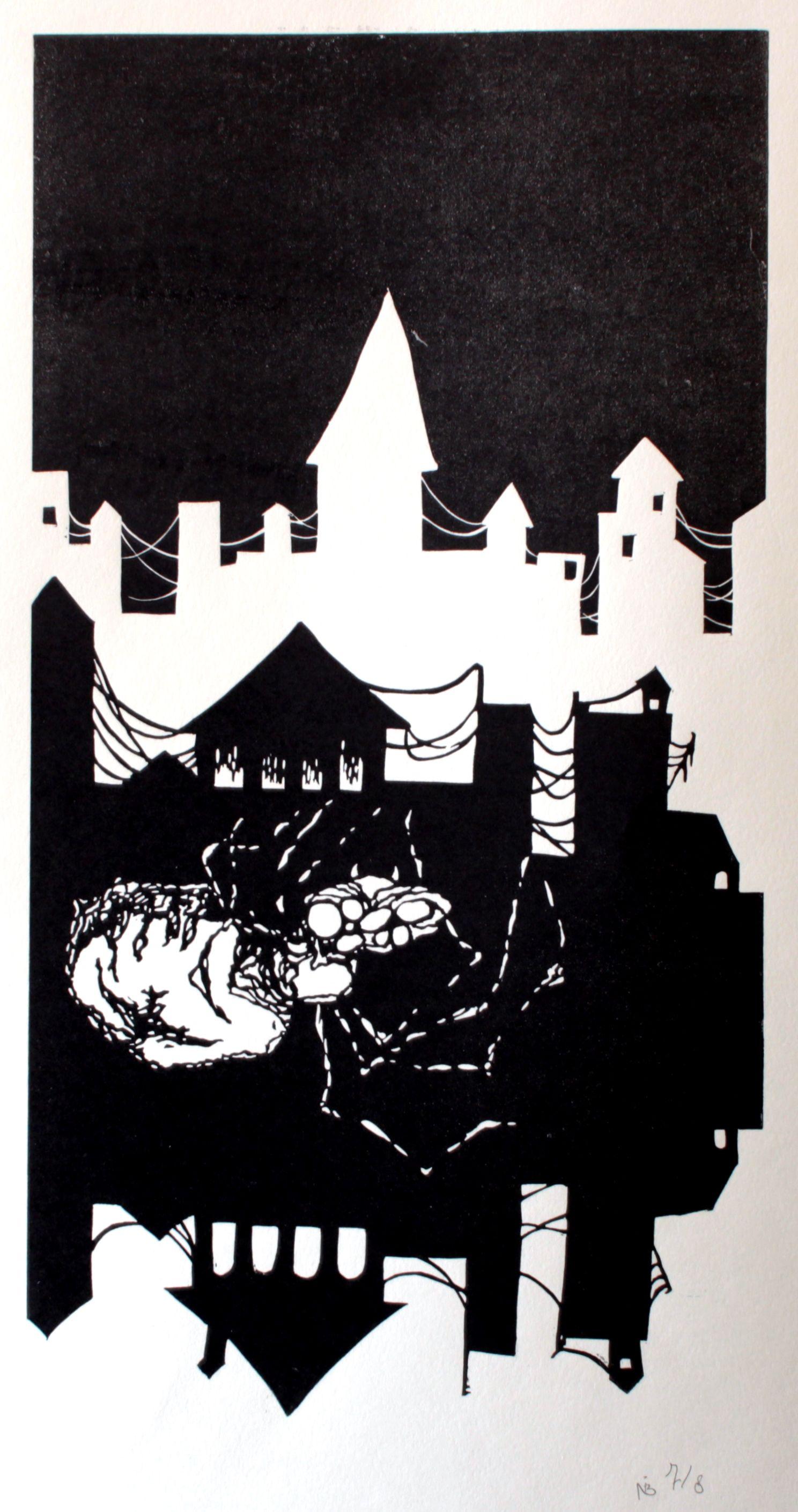 Expositie Spiegelbeeld | 9 januari t/m 13 februari 2016 | Kunstwerken van diverse jonge talentvolle grafici | Nellie de Boer - The dark city | Linodruk €300,00| www.baxkunst.nl | #baxkunst #expo #art #graphicart #contemporaryart #dutchartist #localart #gallery #Sneek #Holland