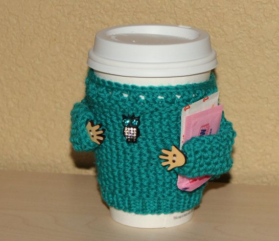 Cup sweater Coffee cozy Knitted cup sleeve Scuba by MugHugCozy