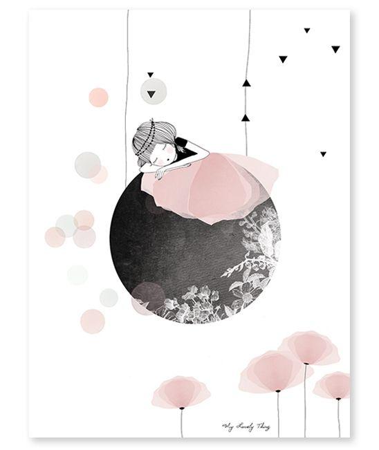Affiche lune coquelicot rose fille chambre bebe enfant