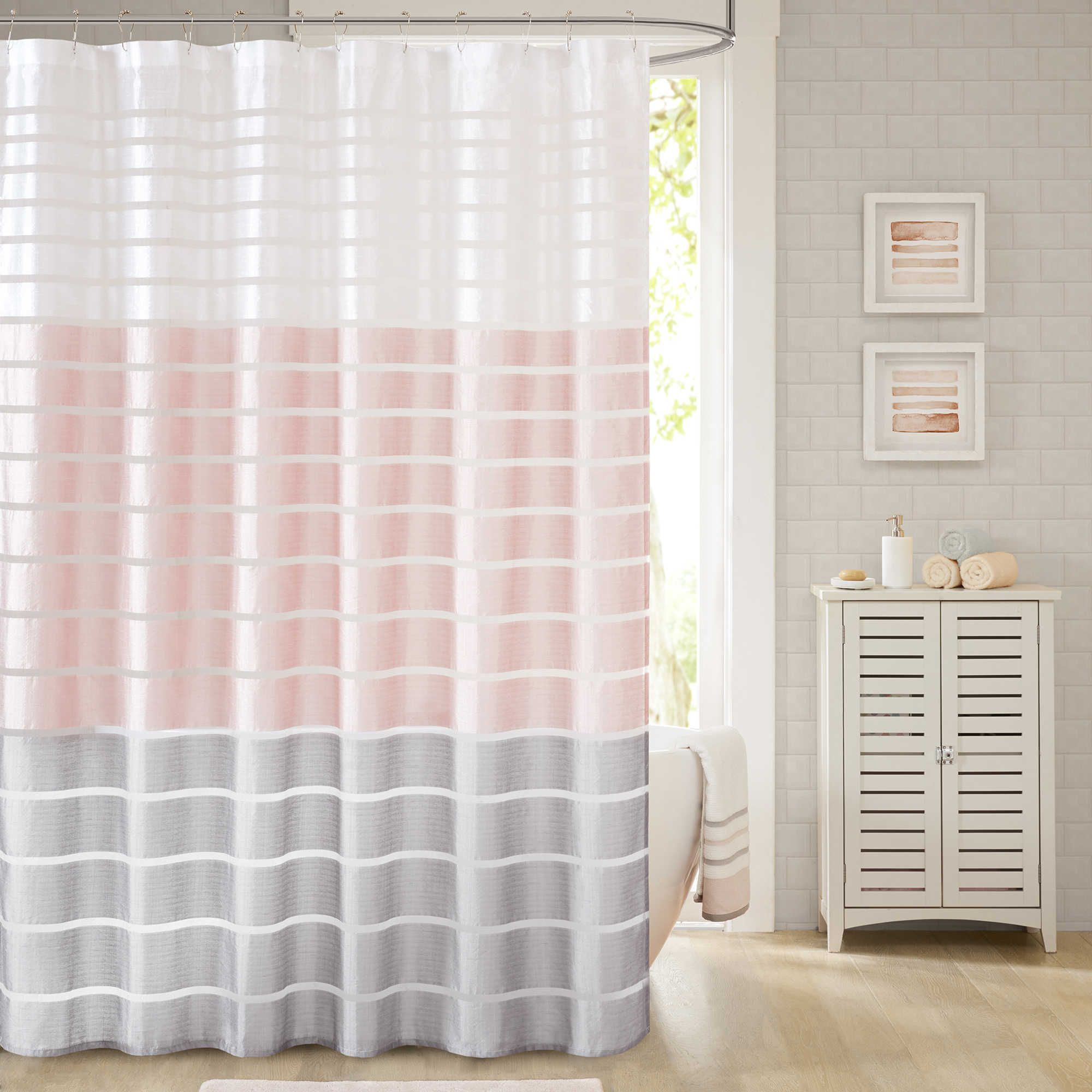 Demi 72 Inch X 96 Inch Shower Curtain In Blush Pink Shower Curtains Gray Shower Curtains Bathroom Shower Curtains