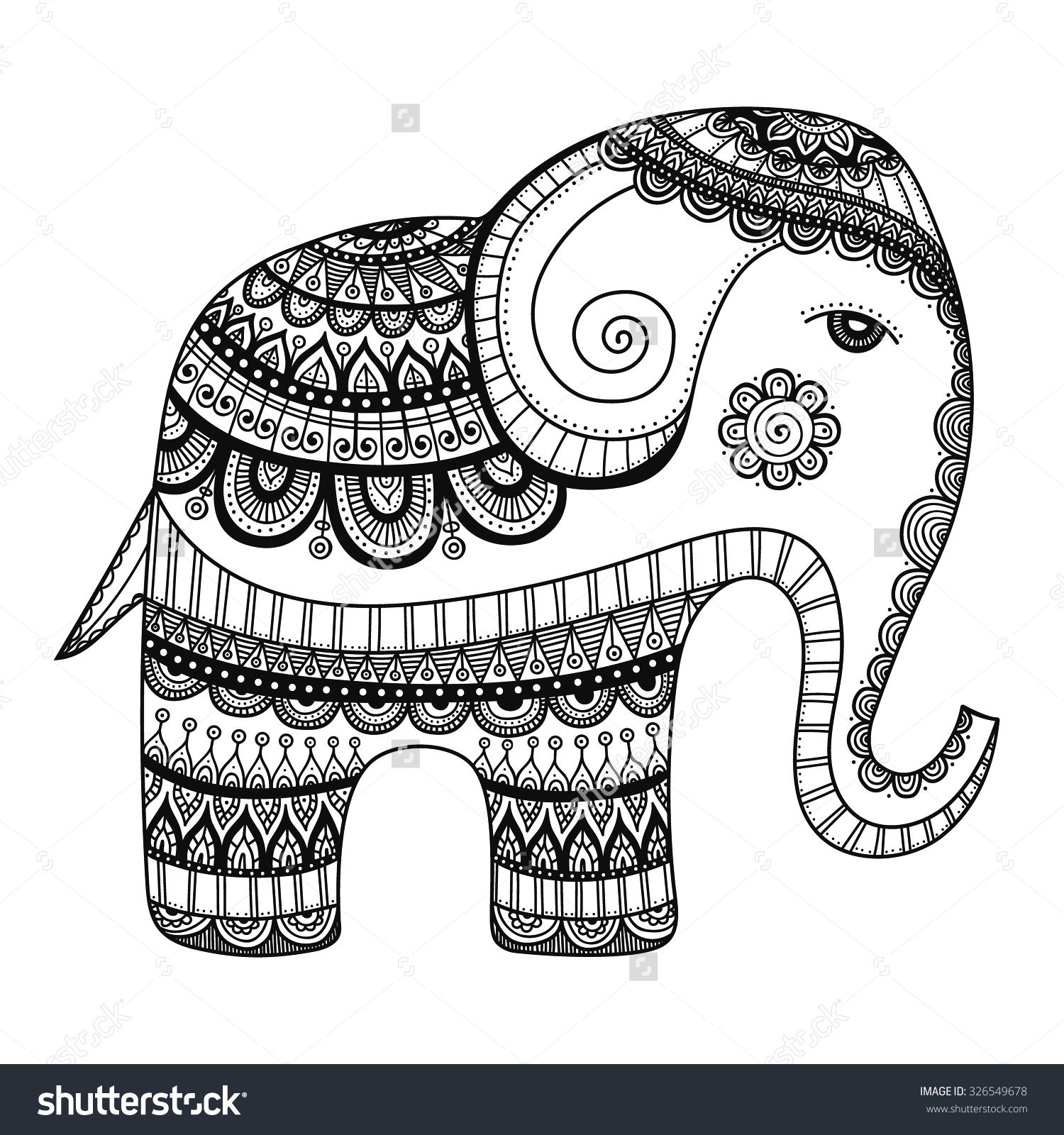 Indian Tribal Coloring Pages. Indian Elephant  Hand Drawn Doodle With Tribal