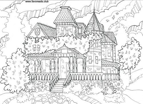 victorian mansion printable adult coloring page