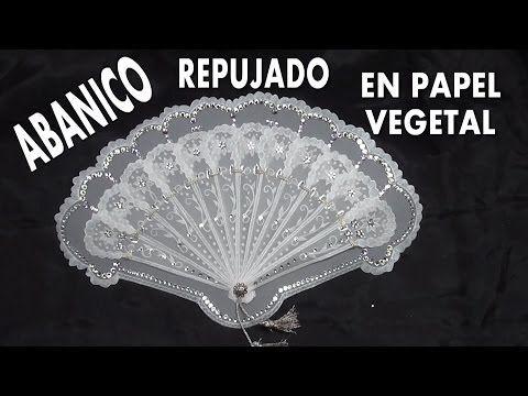 DIY ABANICO REGALO PARA COMUNION EN PAPEL VEGETAL - FAN EMBOSSED GREASEPROOF - YouTube
