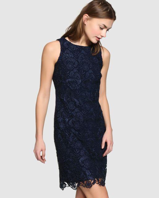 Vestido De Encaje De Mujer Lauren Ralph Lauren En Azul