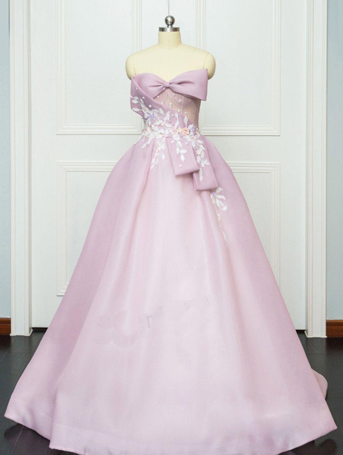 Pink satin aline simple long sweet prom dress long evening