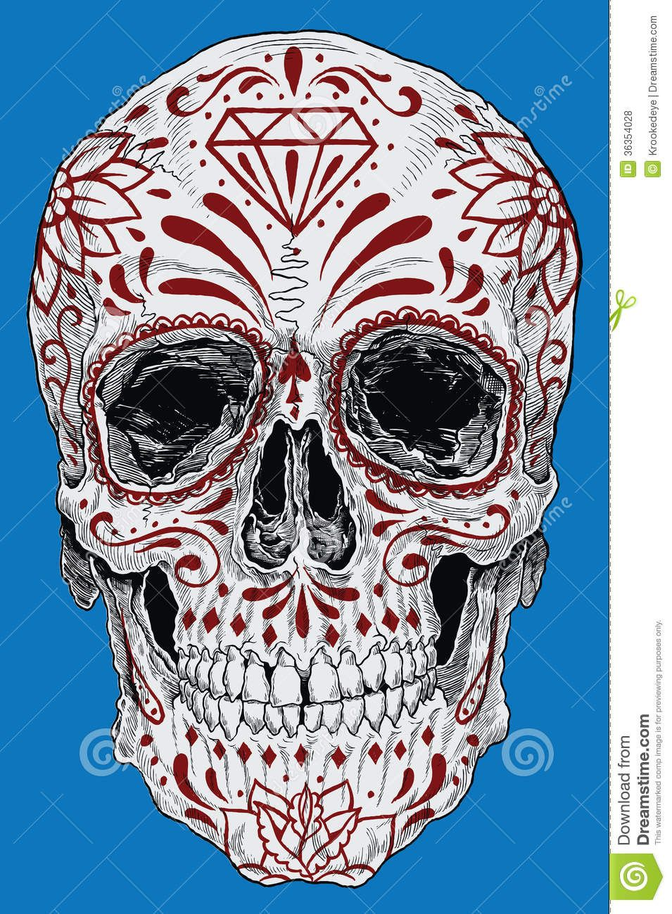 Realistic Day Of The Dead Sugar Skull Royalty Free Stock