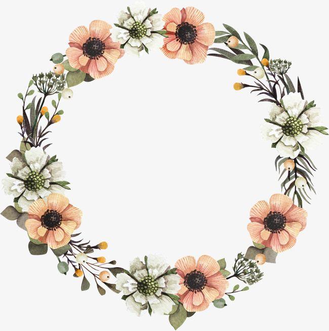 A Garland Floral Border Design Flower Circle Flower Frame Png