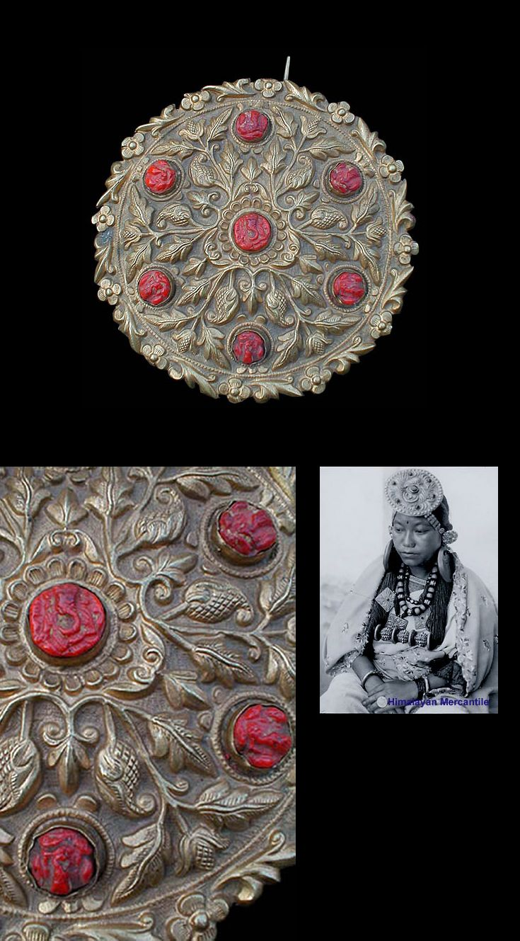 Nepal   woman's head ornament; hammered repousse brass, set with glass Ganeshas   ca. 19th early 20th century   POR