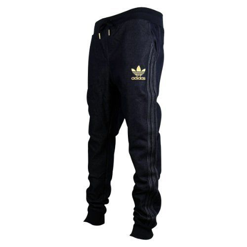 Mens Adidas Originals Cuffed Denim Blue Jeans Tracksuit Bottoms Pants  Joggers L c050e8a3d866