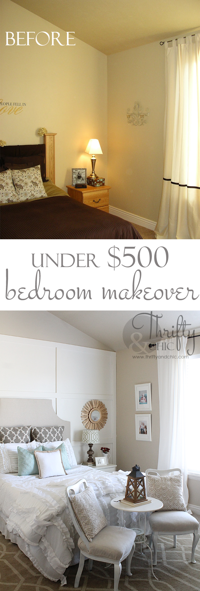 Square Board And Batten Wall Treatment And Master Bedroom Makeover