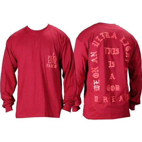 The Life Of Pablo I Feel Like Pablo Red Long Sleeve T Shirt Long Sleeve Shirts Supreme Clothing Cool T Shirts