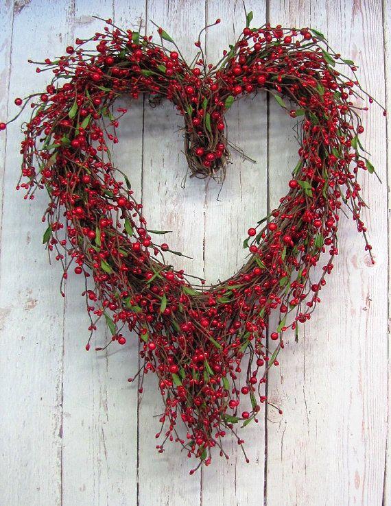 Valentine Wreath Red Berry Wreath Love Wreath by Designawreath