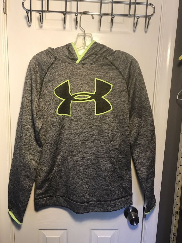 Boys Kids Youth UNDER ARMOUR Pullover Hoodie NEW Medium Long Sleeve Black Neon