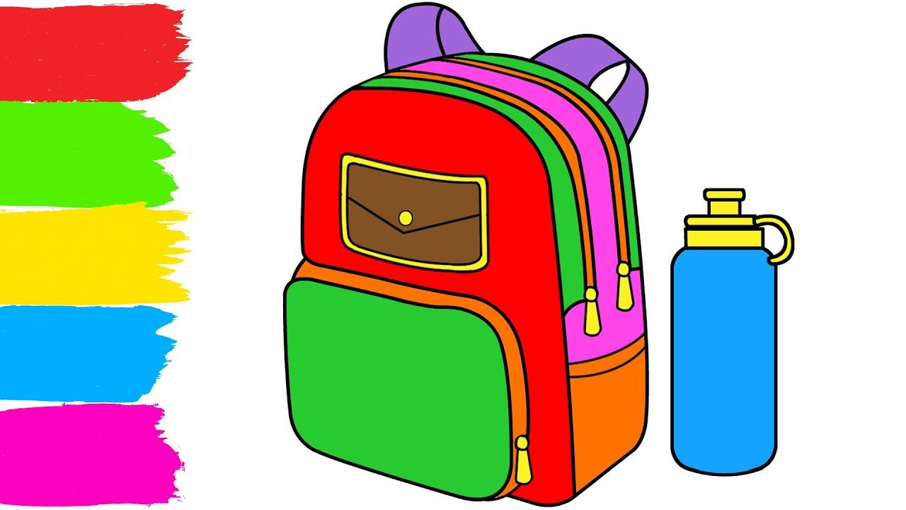 How To Draw And Coloring A School Bag How To Draw For Kids Drawing For Kids Drawing Bag School Bags