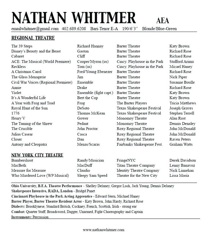 Theatrical Resume Template , actors resume template
