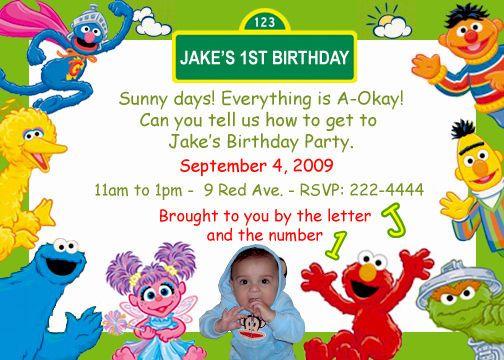 Sesame Street Birthday Invitations Personalized
