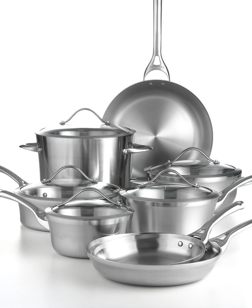 Calphalon Tri Ply Stainless Steel 13 Pc Cookware Set Cookware Kitchen Macy S Cookware Set Stainless Steel Cookware Set Calphalon Cookware