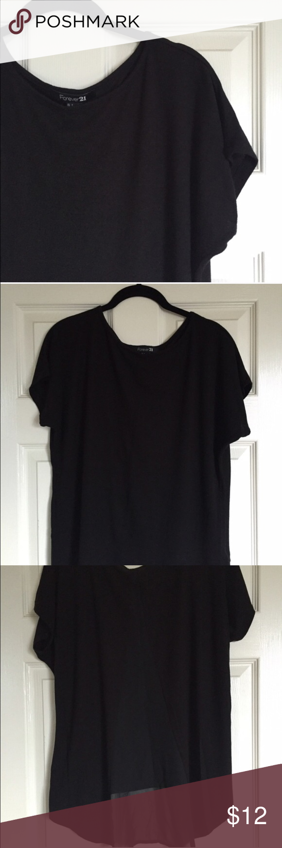 Chiffon-back top - black Cute paired with jeans/shorts - super soft! Forever 21 Tops