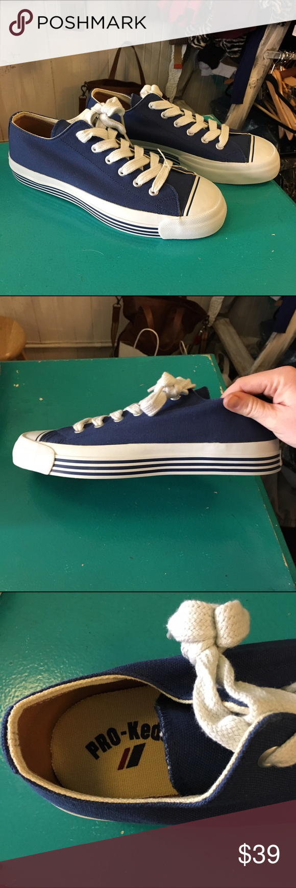 NEW PRO-KESS BLUE and WHITE LACE UP SNEAKERS - 9.5 NEW PRO-KESS BLUE and WHITE LACE UP SNEAKERS - 9.5. Great sneakers. Woman size 11. Comes with original box item number 6-213 pro-keds Shoes Sneakers