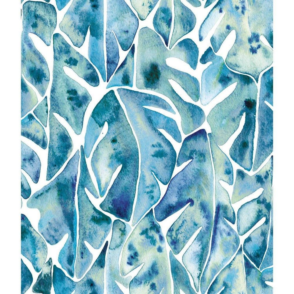 Roommates Cat Coquillette Philodendron Peel And Stick Wallpaper Blue In 2020 Peelable Wallpaper Peel And Stick Wallpaper Wallpaper Roll