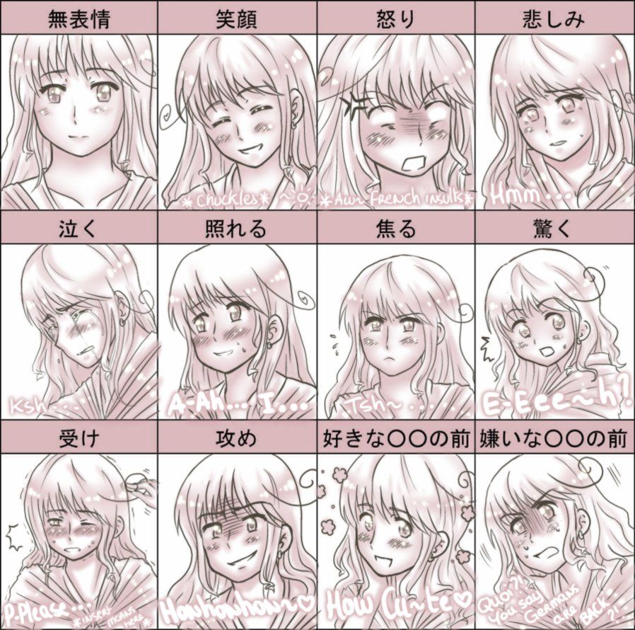 Anime Facial Expressions Chart Anime Art Cartoon