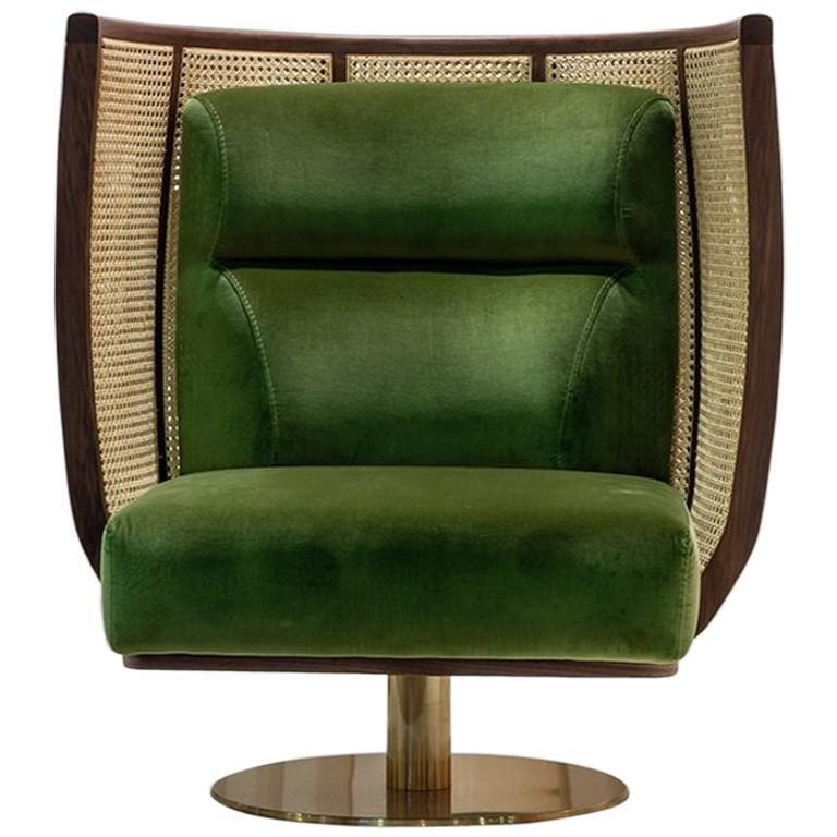 Doeg rattan swivel chair contemporary high back lounge