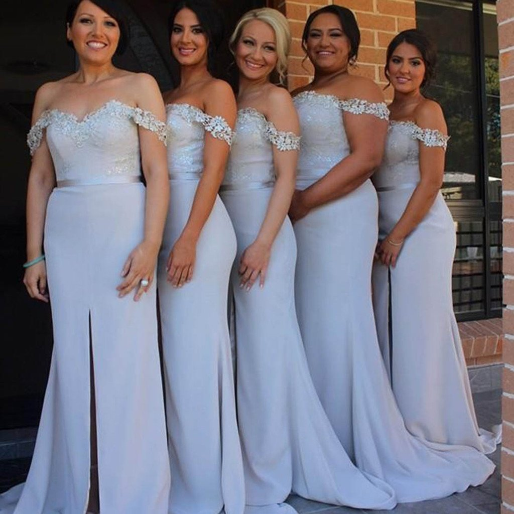 Mermaid offshoulder sexy split long bridesmaid dresses with train