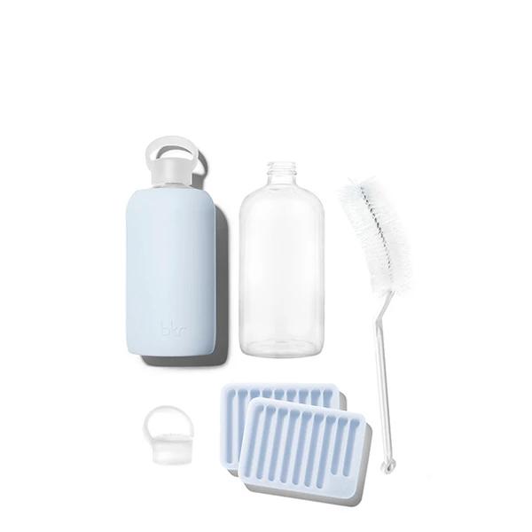 Big Grace Essential Kit Opaque Light Periwinkle Blue Glass Water Bottle Bkr Bottle Water Bottle Glass Water Bottle