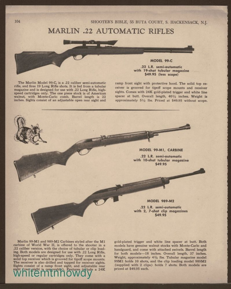 1968 Marlin 99 C 989 M2 22 Rifle M1 Carbine Ad Firearms Lever Action Parts Diagram On
