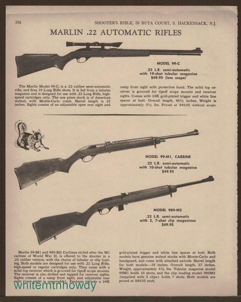 1968 MARLIN 99-C, 989-M2  22 Rifle 99-M1 Carbine AD | Gun